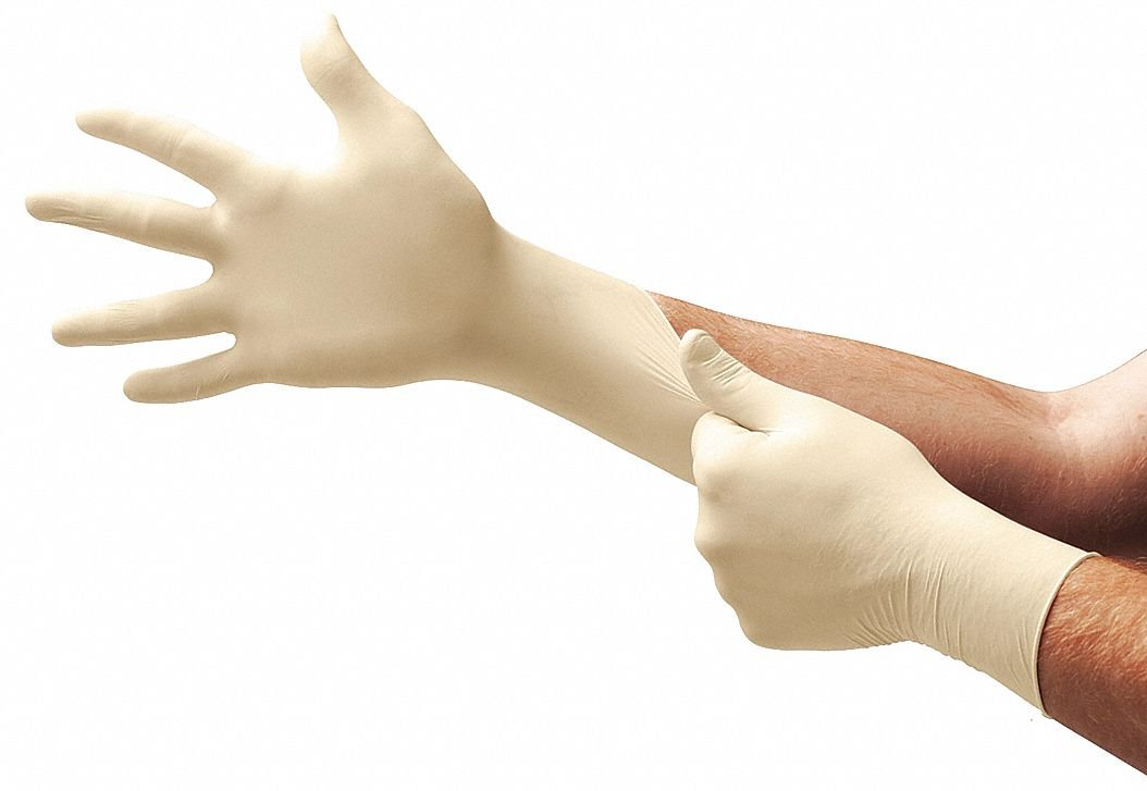 9-1/2 Powder Free Unlined Natural Rubber Latex Disposable Gloves, Natural, Size XL, 100PK by Microflex (Image #1)