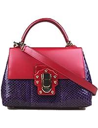 Miss Lucia Crocodile Python Snakeskin Leather Red Purple Sicily Bag Handbag Purse