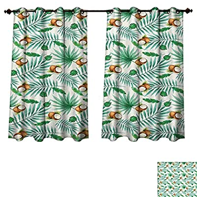 RuppertTextile Watercolor Bedroom Thermal Blackout Curtains Coconut Fruit Exotic Nature Palm Tree Leaves Aloha Hawaii Polynesian Food Window Curtain Drape Green Pale Brown