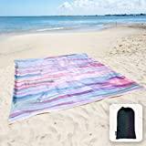 Sunlit Silky Soft Sandfree Beach Blanket Sand Proof Mat with Corner Pockets and Mesh Bag 6' x 7' for Beach Party, Travel, Camping and Outdoor Music Festival