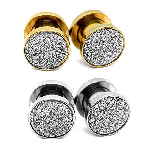 JFORYOU 2 Pair Ear Flesh Tunnels Stainless-Steel Glitter Screw on Ear Gauges Ear Plugs Double Flared Expander Tunnels Ear Piercing 6 Gauga=4mm