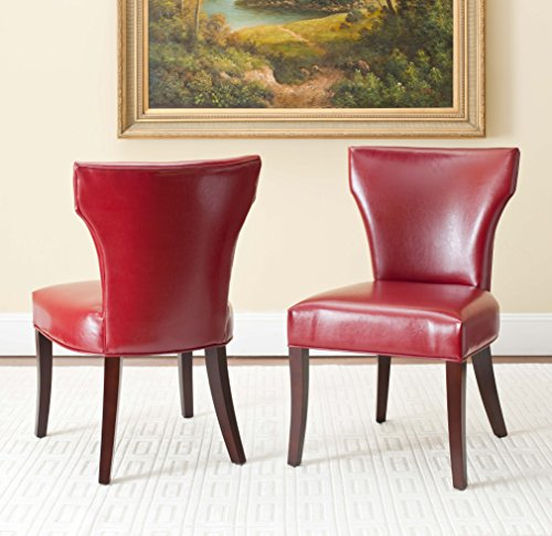 Safavieh Mercer Collection Regina Bicast Leather Side Chairs, Red, Set of - Chair Bicast Leather