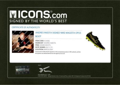 Andres Iniesta Barcelona Autographed Nike Cleat ICONS Fanatics Authentic Certified Autographed Soccer Cleats