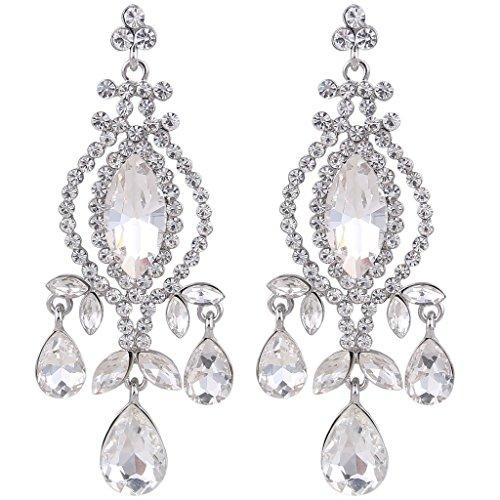 EVER FAITH Silver-Tone Austrian Crystal Vintage Style Teardrop Dangle Chandelier Earrings Clear