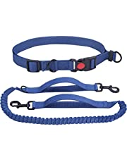 VIVAGLORY Hands Free Dog Leash with Retractable Wavelength Bungee for Small Medium and Large Dogs, Dual Handles Reflective Waist Leash for Training Running Walking