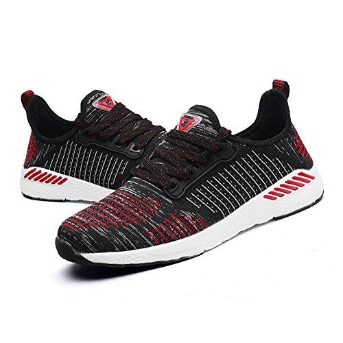 Gomnear Ademende Sneaker Heren Dames Met Lichtgewicht Paar Casual Mesh Walking Atletische Sportschoenen Rood