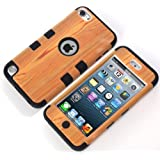 Lantier For iPod Touch 5 Case,Hybrid 3 Layers Hard Cover with Silicone Shell Inside Case Plastic TUFF Camo Triple Quakeproof Drop Resistance Protective for iPod Touch 5 5th Generation with Screen Protector and Stylus Pen Wood/Black