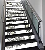 Stair Stickers Wall Stickers,13 PCS Self-Adhesive,Sketchy Decor,Balloon Antique Cars Vintage Design with Quote in Middle Steampunk,Black and White,Stair Riser Decal for Living Room, Hall, Kids Room D