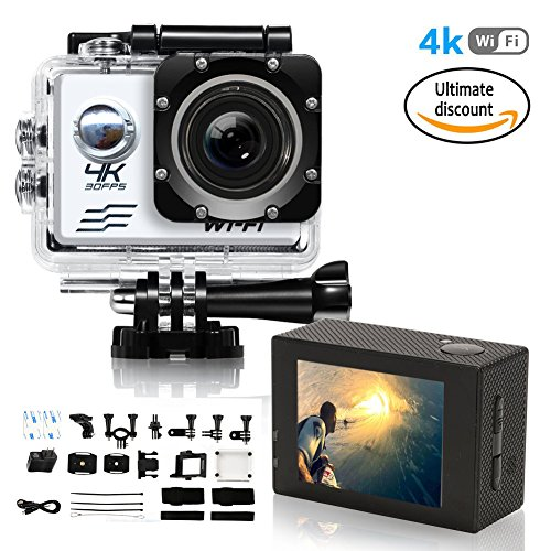 Action Camera 1080P 4K Ultra HD WiFi Best Video Sports Camera 16MP 1080P 170 Degree Wide Angle 2.0 Inch Screen 100 foot Underwater Waterproof Camera with Sony Sensor and 2 Batteries Silver