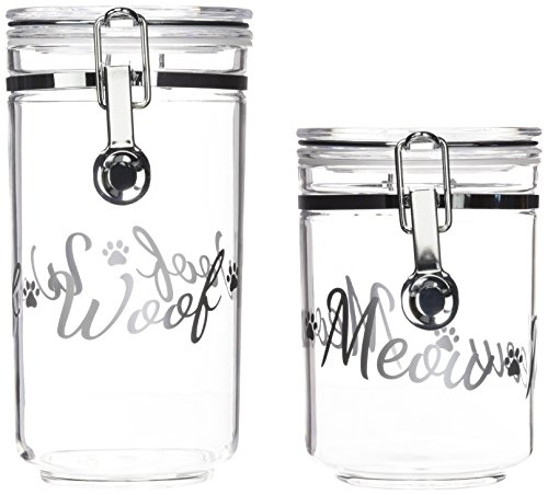 (IRIS Acrylic Meow & Woof Pet Treat Jar, Silver)