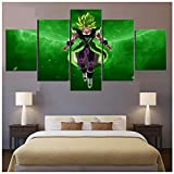 Junewind Canvas Painting 5 Piece Broly Legendary Super Saiyan Dragon Ball Super Broly Movie Poster Wall Pictures Canvas Painting for Home Decor Wall Art-Size