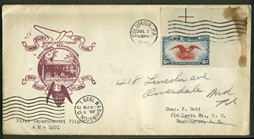 Columbia PA Experimental 1st Flight Air Mail Pickup postal cover 1939 (First Airmail Flight Cover)
