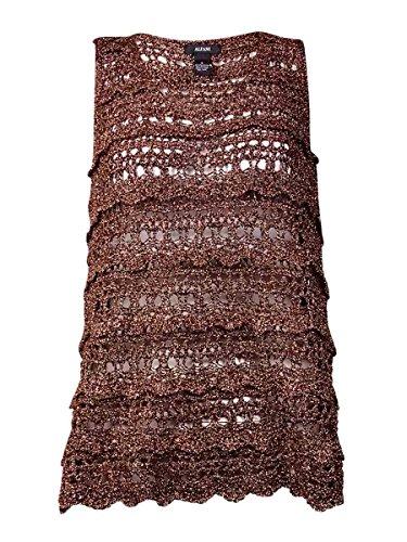 ALFANI Womens Crochet Metallic Tank Top Bronze S