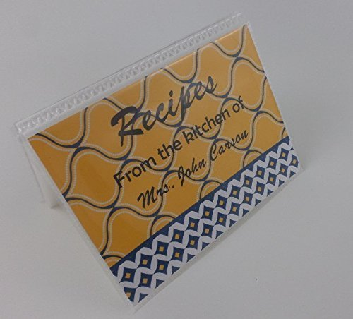 Recipe Card Book IA#302 4x6 or 5x7 Kitchen Cards are NOT INCLUDED, Empty Kitchen Recipe Folder- Yellow and Navy