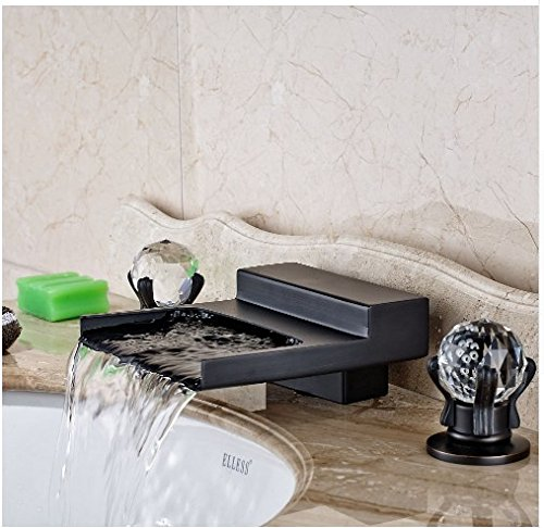 Gowe Widespread LED Waterfall Spout Bathroom Sink&Tub Faucet Oil Rubbed Bronze Deck Mounted Double Handles 3 Holes 1