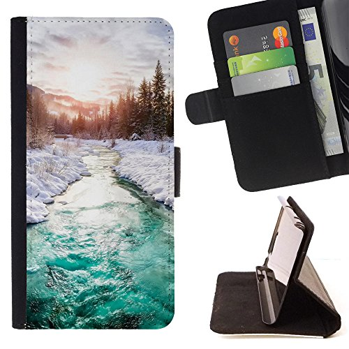God Garden - FOR Apple Iphone 4 / 4S - Beautiful River In Winter - Glitter Teal Purple Sparkling Watercolor Personalized Design Custom Style PU Leather Case Wallet Fli