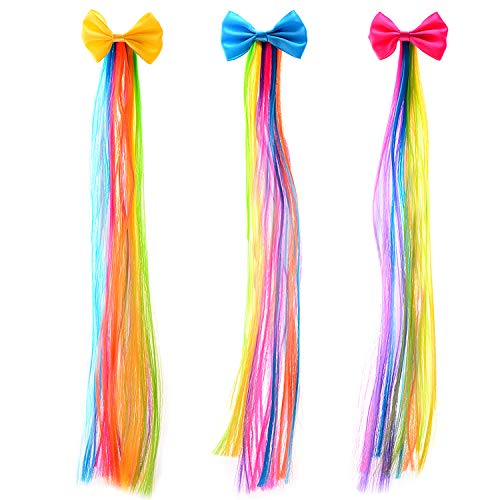Bevan Cute Bow With Rainbow Wigs Barrettes For Girls Teens Toddlers Kids Party Birthday Celebrations,Mixed 3 Colors (F0004-1) -