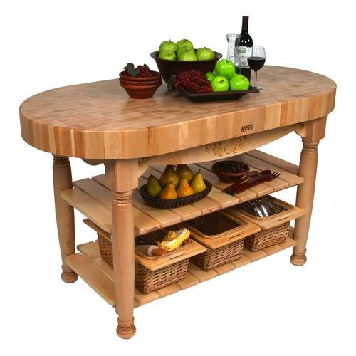 Maple Top Open Base Tables - American Heritage Harvest Kitchen Island with Butcher Block Top Base Finish: Natural Maple