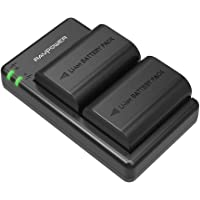 LP-E6 LP E6N Battery RAVPower Rechargeable Battery Charger Set for Canon 5D Mark II III IV, 5Ds, 6D, 70D, 80D and More (2-Pack, Versatile Charging Option with USB, 100% Compatible with Original)