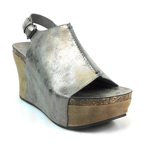 - Pierre Dumas Hester-14 Women Low Wedge with an Adjustable Side Buckle Sandals,Pewter,5.5