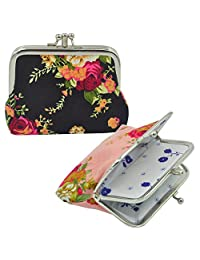 """Oyachic 2 Packs Double Pockets Coin Purse Canvas Coin Pouch Rose Pattern Clasp Closure Wallet Gift 4.7""""L X 3.5""""H"""