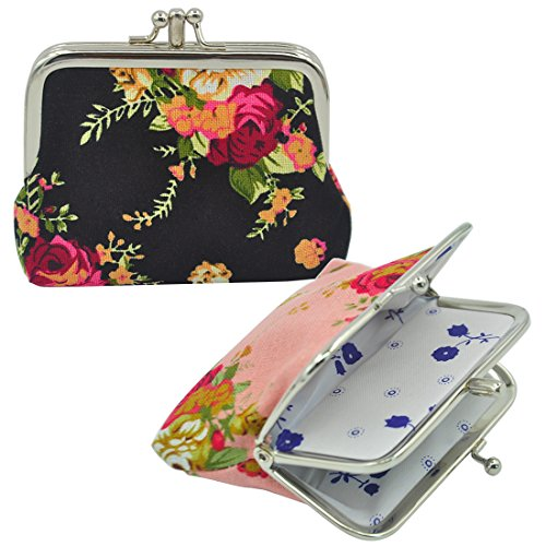 Oyachic 2 Packs Coin Pouch Canvas Double Coin Purse Rose Pattern Clasp Closure Wallet Gift 4.7