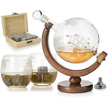 Amazon Com Wine Enthusiast Etched Globe Spirits Decanter