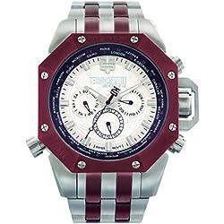 Technosport TS-100-12AV Mens World Timer GMT Brown/Silver Stainless Steel Watch