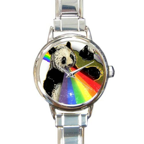 Humor Fierce Panda Art Round Italian Charm stainless steel Christmas Day Gift Watch by Cute Panda Watch (Image #1)