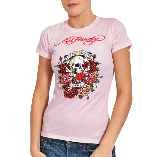 Ed Hardy Womens Love Dies Hard Short Sleeve T-Shirtt - Pink - Small ()
