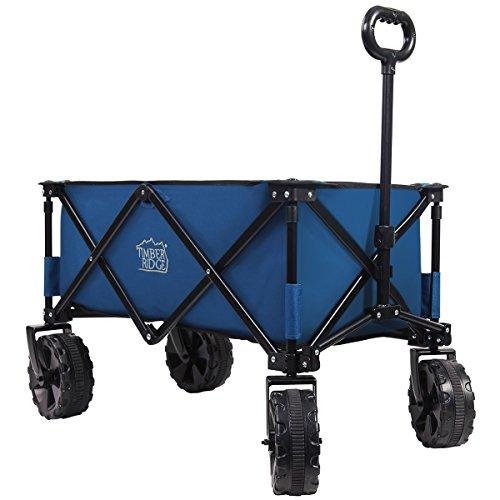 Timber Ridge Folding Camping Wagon Cart   Collapsible Sturdy Steel Frame Garden Beach Wagon Cart