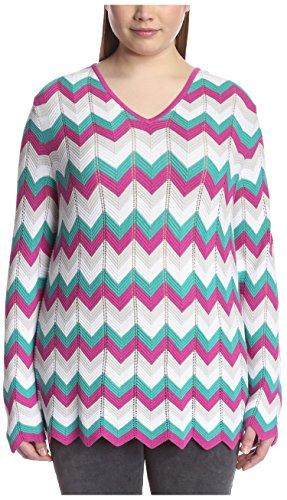 Kier + J Plus Women's Chevron Sweater, Multi, 2X
