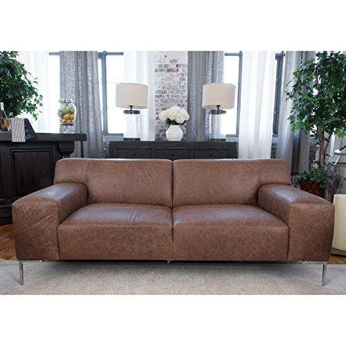 Elements Fine Home Industrial Top Grain Leather Sofa in