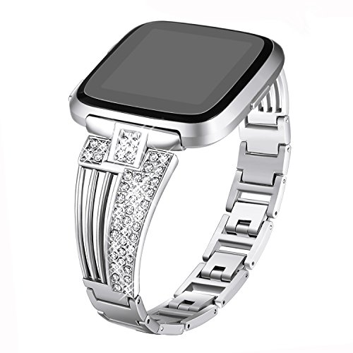 bayite Metal Bands Compatible Fitbit Versa Watch, Bling Bracelets with Rhinestones Woman Girls, Silver