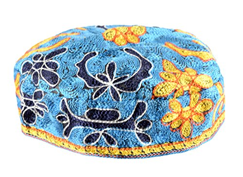 Peer Hastam Light Blue Bucharian Hand Embroidered Kippah Buchari Yarmulke by aJudaica - - Perimeter Shops Mall