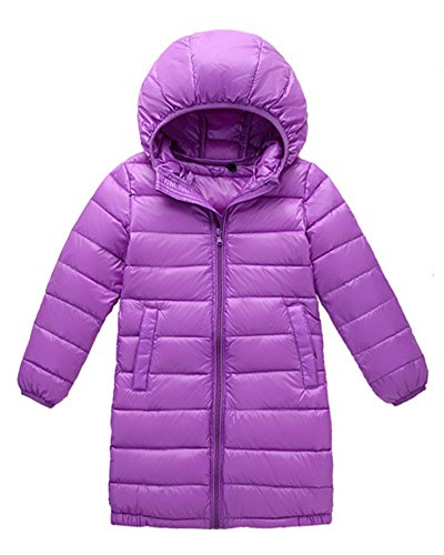 Anyu Girls Long Hooded Down Jacket Lightweight Coat Outwear Light Purple