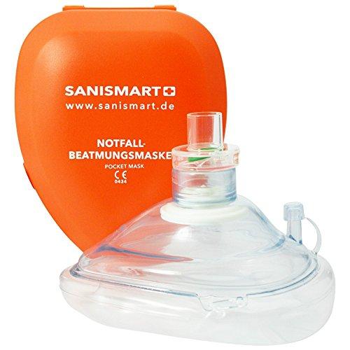 SANISMART CPR Beatmungsmaske mit aufgedruckter Ersthelfer-Anleitung