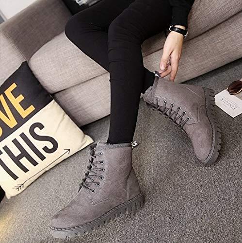 YSFU Botas Botas Martin De De De Mujer Color Sólido Zapatos con Cordones De La Moda Zapatos De Mujer Botines Botines Zapatillas De Deporte Casuales Calzado Plano Otoño Invierno Al Aire Libre 4d64bd