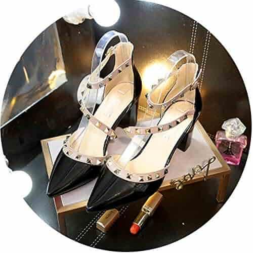 50241d9a4ce HANBINGPO Summer New Women s high Heels Korean Fashion Rivet Pointed Patent  Leather high Heels Comfortable Wild