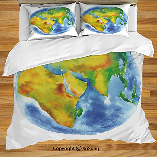 SoSung Earth Queen Size Bedding Duvet Cover Set,Globe of Earth Painted in Watercolors Cartography Geography Continents Decorative 3 Piece Bedding Set with 2 Pillow Shams,Light Blue Green Yellow