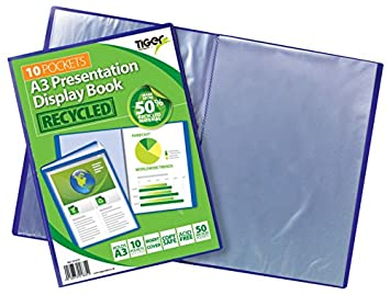 eco-eco A3 50/% Recycled 10 Pocket Black Folder Presentation Display Book