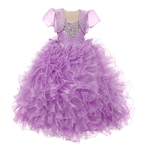 RainKids Little Girls Lilac Heart Shape Beaded Organza Jacket Pageant Dress 4 by The Rain Kids