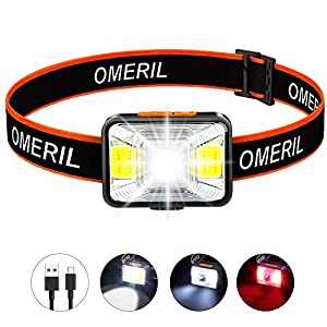 OMERIL LED Head Torch, USB Rechargeable Headlamp with Super Bright 200 Lumens,5 Lighting Modes,White&Red Light,IPX5…