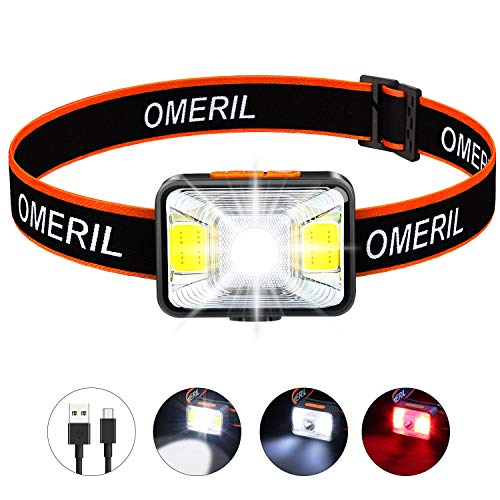 OMERIL Rechargeable Headlamp,【2.5h Quick Charge】LED Hiking Headlamp Flashlight with 200 Lumens, 5 Lighting Modes, White & Red Light, IPX5 Waterproof Camping Headlamp for Running,Cycling,Kids and Adult