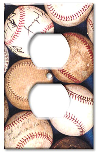 Art Plates Baseballs (Outlet Cover Wall Plate - Sports: Old Baseballs)