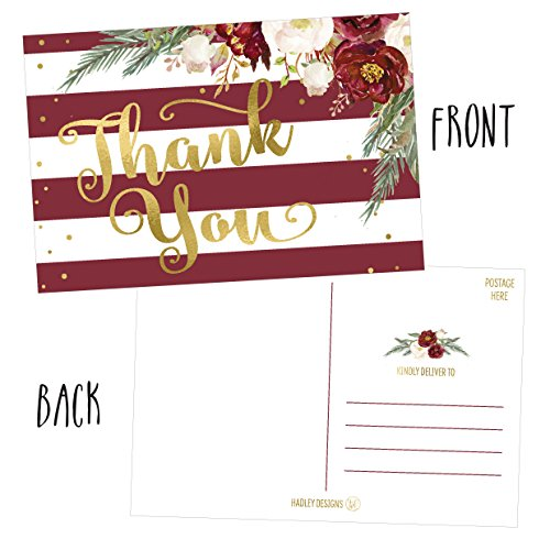 25 4x6 Blank Christmas Holiday Thank You Postcards Bulk, Cute Modern Fancy Winter Note Card Stationery For Wedding, Bridesmaids, Bridal or Baby Shower, Teachers, Appreciation,Religious, Business Cards Photo #3