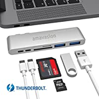"""Thunderbolt 3 Type C HUB, Amavasion USB C HUB Adapter 6 in 1 for Macbook Pro 2016/2017 15""""/13"""" with TB3 Up to 40 Gb/s, Micro SD, SD, USB Type C, 2USB 3.0."""