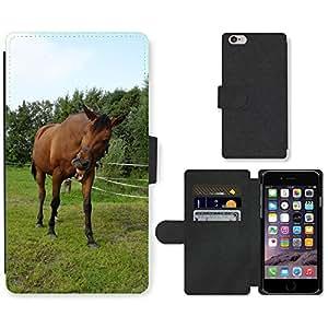 "PU LEATHER case coque housse smartphone Flip bag Cover protection // M00114657 Caballo de Brown Animal Mamífero Pasto // Apple iPhone 6 4.7"""