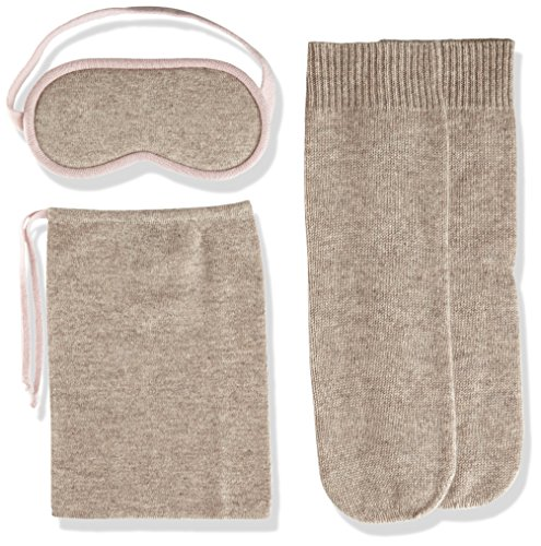 Sofia Cashmere Women's Cashmere Travel Set-Eyemask and Socks, Taos ZY32199 + Rose Dust ZY42288, One by Sofia Cashmere
