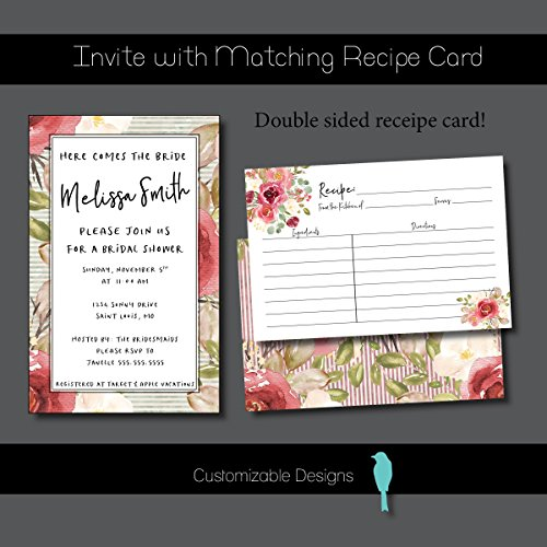 Floral Customized Invitation - Bridal Shower Invitation With Matching Recipe (Baby Shower Recipe Card)